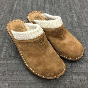 Ugg suede wedge clog slip on shoes sock lining